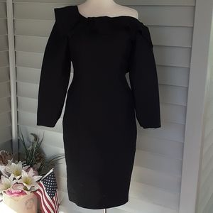 Carolina Herrera long sleeve black cocktail dress